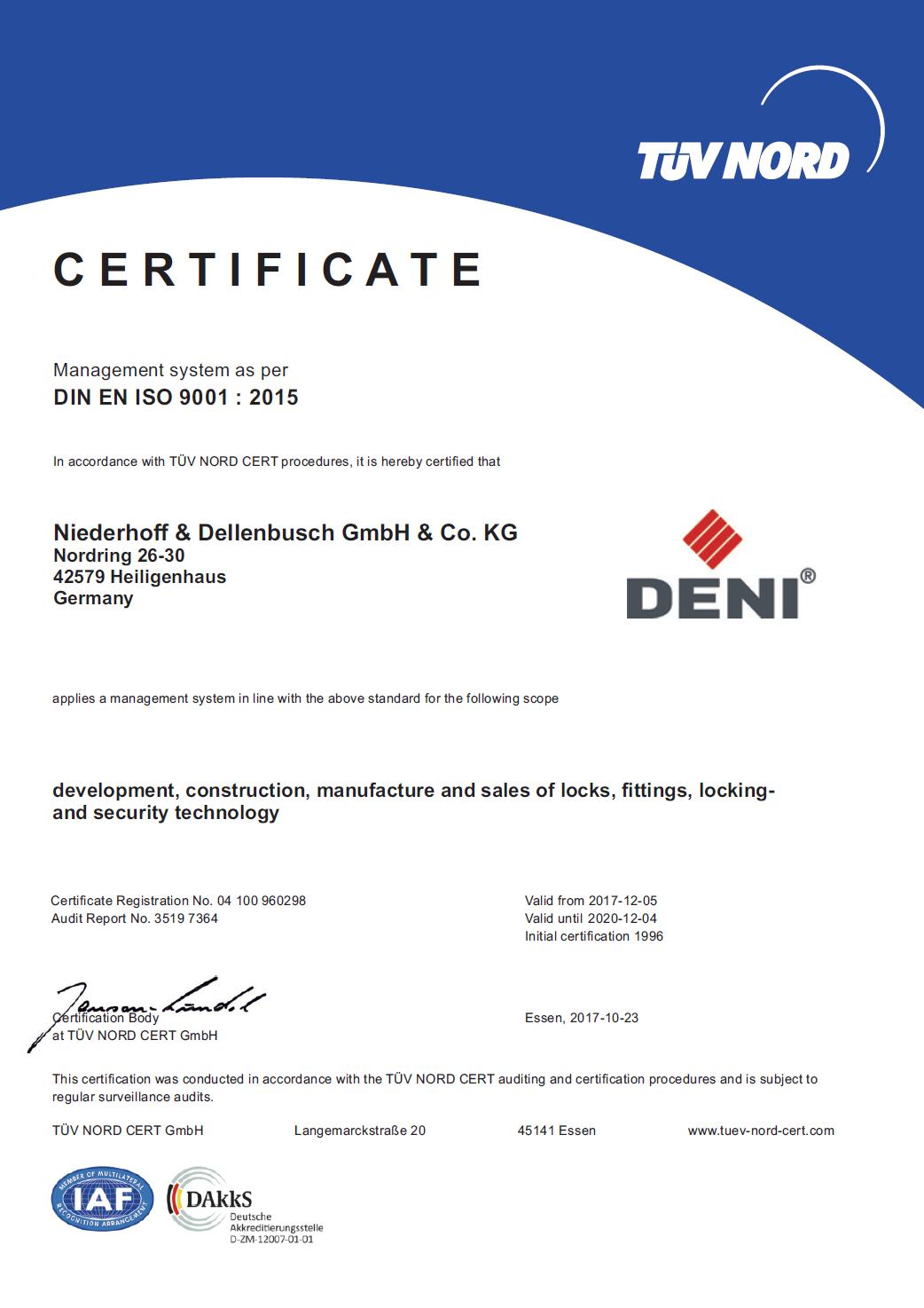 DENI QM-Certificate 2017 EN Thumbnail